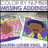 Color by Number Missing Addends Math Coloring Worksheets MLK Themed
