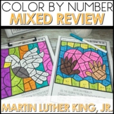 Color by Number Addition and Subtraction Math Coloring Worksheets MLK Themed