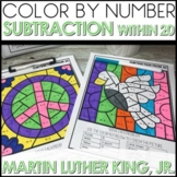 Color by Number Subtraction within 20 Math Coloring Worksheets MLK Themed