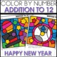 Color by Number NEW YEARS EVE  Worksheets ADDITION TO 12