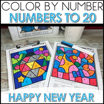 Color by Number NEW YEARS EVE  Worksheets NUMBERS TO 20