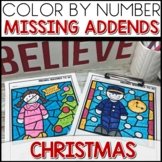 Color by Number POLAR EXPRESS Worksheets MISSING ADDENDS