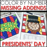 Color by Number PRESIDENTS' DAY Worksheets MISSING ADDENDS