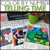 Color by Code Telling Time to the Hour and Half Hour Worksheets