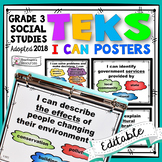 **1/2 OFF 48 HOURS**TEKS Posters 3rd Grade Social Studies TEKS I Can Statements