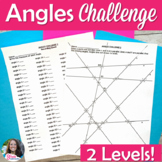 Angle Relationships Differentiated Challenge Worksheet