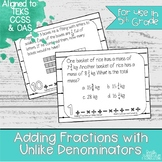 Adding Fractions with Unlike Denominators Task Cards | TEK