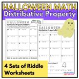 Distributive Property: Halloween Math Riddle Worksheets