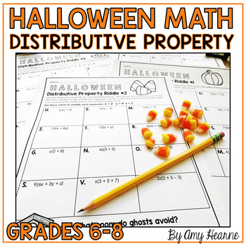 Distributive Property: Halloween Math Riddle Worksheets