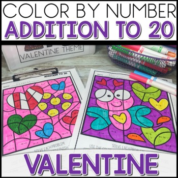 ❤️ 1/2 Off for 24 hrs Color by Number VALENTINE Worksheets ADD UP TO 20