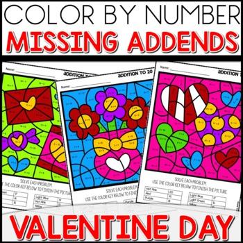 Color by Number VALENTINE Worksheets MISSING ADDENDS