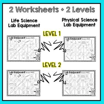 Lab Equipment Maze Worksheet Set (Physical & Life Sciences)