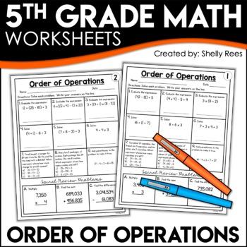 Order of operations homework worksheets