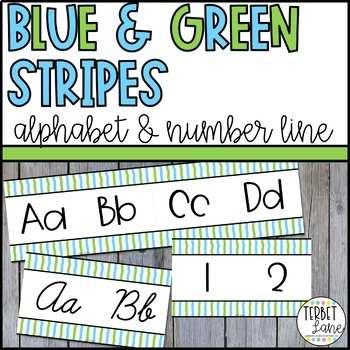 Blue and Green Stripes Alphabet Letters for Walls