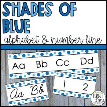 Shades of Blue Alphabet Line Posters | Alphabet Cards