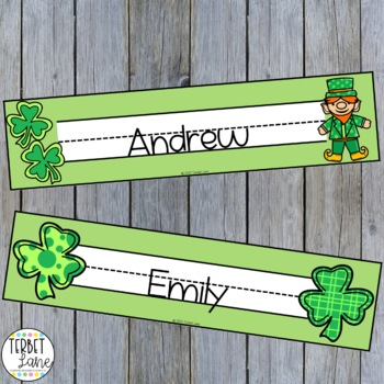 St. Patrick's Day Name Tags for Desks