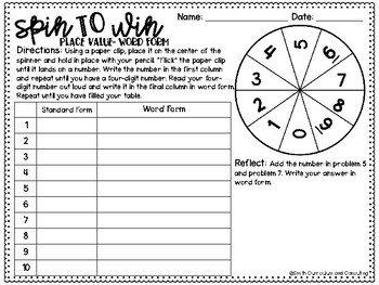 Fourth Grade Spin to Win | Centers for Math Workshop or Practice