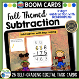 Fall Math | 3 Digit Subtraction with Regrouping BOOM Cards | Distance Learning