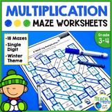 Winter Math   Single Digit Multiplication Mazes