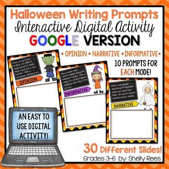 Halloween Writing Prompts - Interactive Digital Google Version
