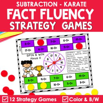 Math Fact Fluency Subtraction Games - Karate Theme