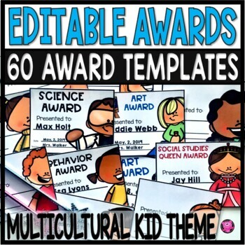 End of Year Awards EDITABLE 60 Color Superlative Certificates