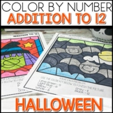 Color by Number Addition to 12 Math Worksheets Halloween Themed