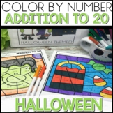 Color by Number Halloween Worksheets ADDITION UP TO 20