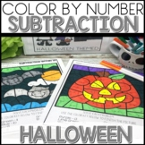 Color by Number Halloween Worksheets Subtraction within 20