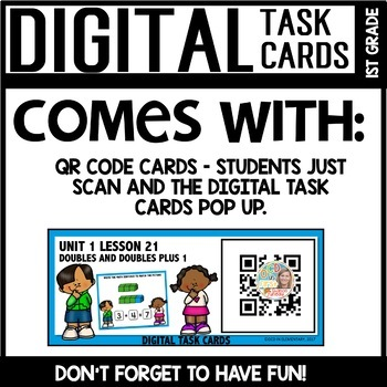 Doubles and plus 1 DIGITAL TASK CARDS Module 1 Lesson 21