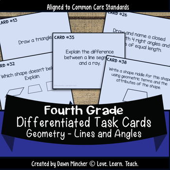Lines and Angles Geometry Differentiated Task Cards