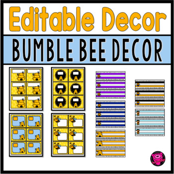 Bee Themed EDITABLE Name Plates and Labels Decor