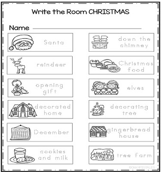 Christmas Write the Room for Kindergarten