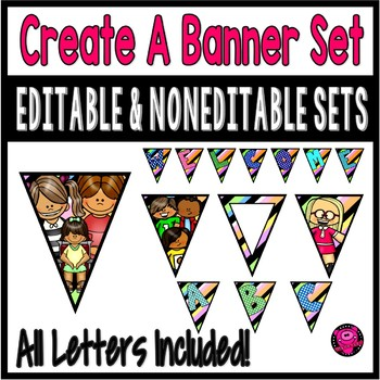 Editable Colored Banner Kit for Bulletin Boards and Halls