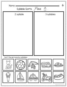Syllable Sorting Worksheets for Open and Closed Syllables