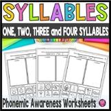 Phonemic Awareness Worksheets for Syllable Sorting