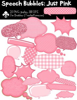 Speech Bubbles: Just PINK Clipart ~ Commercial Use OK ~ Frames