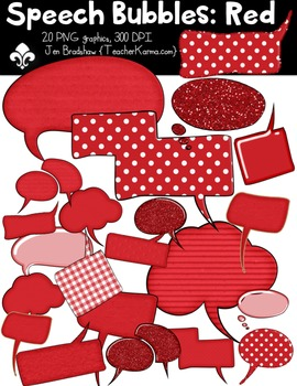 Speech Bubbles: RED Clipart ~ Commercial Use OK ~ Frames
