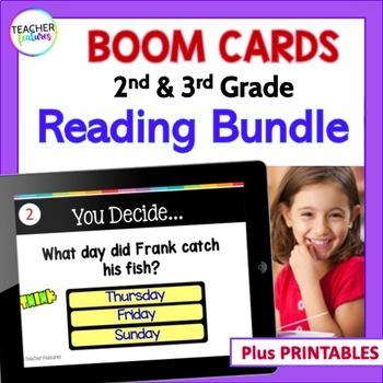 Boom Cards Reading Comprehension Bundle : 2nd Grade & 3rd Grade