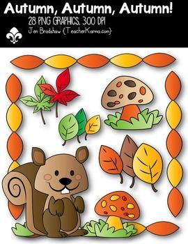 Autumn, Autumn, Autumn Squirrel! Clipart ~ Commercial Use