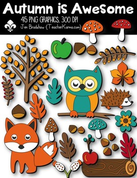 Autumn is Awesome Clipart ~ Commercial Use OK ~ Fall