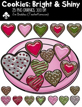 Cookies: Bright & Shiny Clipart ~ Commercial Use OK ~ Hearts