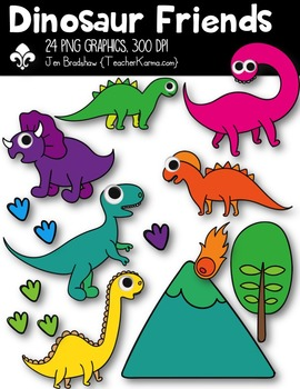 Dinosaur Friends Clipart ~ Commercial Use OK