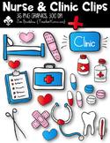 Nurse & Clinic Clips Clipart ~ Commercial Use OK
