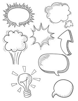 Speech Bubbles #4 Clipart ~ Commercial Use OK  ~ Frames