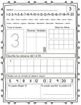 # 1-20 Math Practice (Spanish)