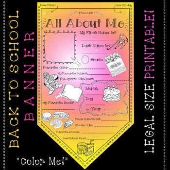 "#1 All About Me Coloring Pennant - Activity for Students! 8.5"" X 14"" PRINTABLE!"