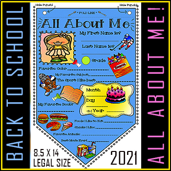 """#1 All About Me Coloring Pennant - Activity for Students! 8.5"""" X 14"""" PRINTABLE!"""