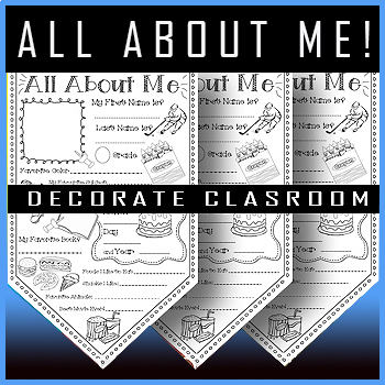 """#1 All About Me Banner Pennant for Back to School / 8.5"""" X 14"""""""