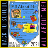 "#1 All About Me Banner Pennant for Back to School / 8.5"" X 14"""